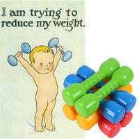 Wholesale toy dumbbells resale online - Children plastic dumbbells nursery outdoor sports toys fitness equipment small dumbbell for kids