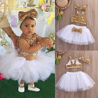Wholesale Toddler Boys Party Clothes - Wholesale- kid children clothing summer princess infant Toddler Baby Girl Sequins party dance Tops+Tutu Skirts Headband 3pcs Outfits Set