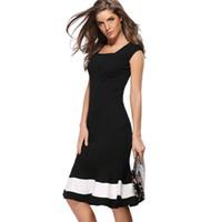 0ac616bbb036 Women s Square collar sleeves Business Work Dress Elegant Mermaid Office 3  4 Sleeve Women Sheath Black Bodycon Female Formal Slim Dress G43