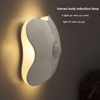 Wholesale Battery Nightlights - Four Leaf Clover PIR Motion Sensor LED Night Light Smart Human Body Induction Nightlight Battery USB Closet Cabinet Toilet Lamps ZJ0228