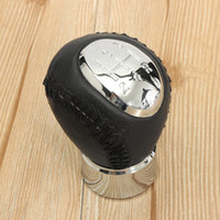 Wholesale Mazda Gear Shift Knobs - Black Chrome 5 Speed Leather Manual Gear Stick Shift Knob For Mazda 3 5 6 323 626 RX-8 Premavy MPV Car Styling Accessories