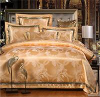 edredones de lino de algodón de lujo al por mayor-Juego de ropa de cama de lujo Seda 4pcs ropa de cama juegos de cama queen king size Colcha de satén / funda nórdica juego de sábanas de algodón funda de cama fundas de almohada