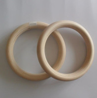 "Wholesale Gymnastics Ring Training - 2pcs pairs Wood wooden ring 1.1""Portable Crossfit Gymnastics Rings Gym Shoulder Strength Home Fitness Training Equipment"