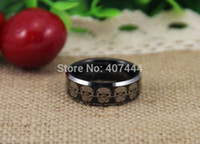 Wholesale wedding ring sets canada for sale - Group buy USA UK Canada Russia Brazil Hot Sales MM Black Top Silver Beveled Skulls Link Men s Lord Tungsten Wedding Rings q170717