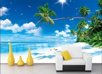ingrosso vernice di mare blu del cielo-3d wallpaper camera personalizzata foto murale Blu mare blu cielo bianco bianco spiaggia albero di cocco pittura 3d murales carta da parati per pareti 3 d