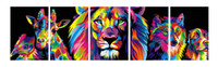 Wholesale Wolf Dog Paintings - 5pcs set Unframed Colorful Aniaml Heads Lion Dog Deer Wolf Oil Painting On Canvas Giclee Wall Art Painting Art Picture For Home Decor