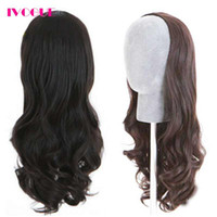 Wholesale natural wave fashion - Fashion Wavy 3 4 Human Hair Half Wigs Unprocessed Virgin Brazilian Human Hair None Lace Wigs for Women