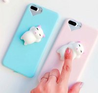 Wholesale Gel Mobile Phone Covers - for iPhone 6s 6 6 Plus 7 Plus Squishy Mobile Phone Case 3D Cute Sleep Cat Phone Cover Case Soft Silicone Gel Shell