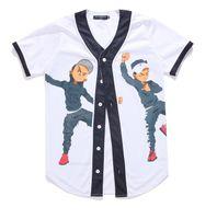 chicos de jersey al por mayor-Nueva Llegada Moda Hip Hop Dancing Guys Jersey 3D All Print Print Camiseta de Béisbol Summer Men Cool Sport Streetwear Tops Ropa