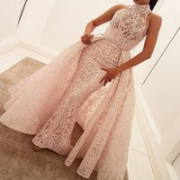 Wholesale High Neckline Mermaid - Hihg Neck Lace Mermaid Prom Dresses With Detachable Train Sheer Neckline Sleeveless Evening Dress Sweep Train African cocktail party dresses
