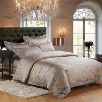 Wholesale Quilt Bedcover - Wholesale- Luxurious bedding set pure egypt Cotton fabric 1000TC Quilt cover bedsheet pillowcase 4pcs bedcover king queen size Home textile