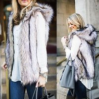Wholesale Woman Down Fur Coats - 2017 New Fashion Fall Winter Wemen Fur Vest Hooded Coat Sleeveless Hoodie Thick Faux Fur Coat Waistcoats Outerwear Female Clothing FS1083
