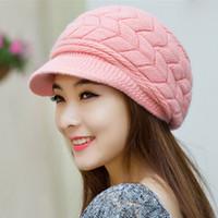 Wholesale Cheap Fashion Beret Hats - Fashion New 2017 Winter Elegent Women Hat Warm Knitted Crochet Slouch Baggy Beret Beanie Hat Cap for women bonnet femme Cheap
