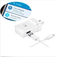 Wholesale Original OEM Samsung Galaxy S6 S7 Edge Note Adaptive AU EU US FAST RAPID Wall Charger TA20 And CM ft Cable