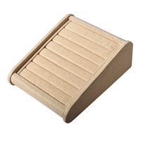 Wholesale Display Rows - Argositment 8 Ring Rows Khaki Sackcloth Wood Tray Insert Display Tray Ring Display Stand Jewelry Organizer