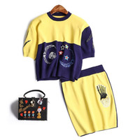 Wholesale Short Blue Skirt Cartoon - The new Europe and the United States women's 2017 spring Cartoon embroidery choli + knitting skirt suit