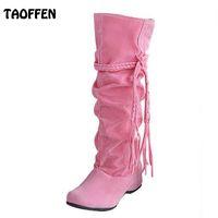 Wholesale wholesale knee high boots - Wholesale- Size 34-43 Women Boots Wedge Short Boots Ladies Snow Fashion Winter Warm Botas Footwear Shoes
