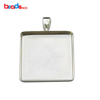 Wholesale Silver Square Cabochon Setting - Beadsnice 925 Sterling Silver Square Pendant Base fit 25mm Cabochon Bezel Setting for DIY Jewelry Making ID26726