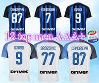 Wholesale Foot Patches - 2017 2018 Inter soccer jersey ICARDI PERISIC milan home away +patch football shirt 17 18 EVER BANEGA D'AMBROSIO EDER maillot de foot