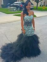 vestido de fiesta negro amor sin tirantes al por mayor-Vestidos De Festa Mermaid Prom Dress 2017 Crystal Rebordear Sweetheart Strapless Africa Black Girl Party Robe De Soiree