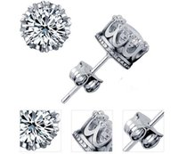 Wholesale Natural Diamonds Jewelry - Sterling Silver stud earrings 925 Diamond Crown natural crystal wholesale fashion small Jewelry for women or men wedding engagement gift