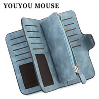 Wholesale Womens Blue Wallet - YOUYOU MOUSE Korean Style Womens Wallet Matte Long Section Purse PU Leather Large-Capacity Hasp Purse Wallet For Women