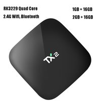 caja de tv tx2 al por mayor-Android 6.0 Smart TV Box 2 GB de RAM 16 GB de ROM Rockchip RK3229 Quad Core Reproductor de streaming de medios 2.4G Wifi Bluetooth Mini PC Nuevo TX2