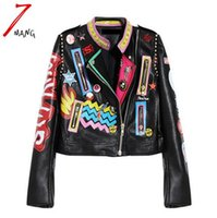 Più taglia 2017 moda donna in autunno punk Heavy Metal Street Short Leather Jacket Nero Zip Rivet manica lunga Motorcycle Coat