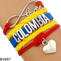 Wholesale Leather Flag Bracelet - (10 Pieces Lot) Infinity Love Colombia Bracelet Heart Multilayer Leather Wrap Columbia Flag Bracelet Blue Red Yellow Color Wristband