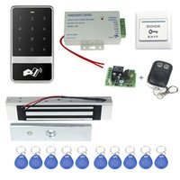 Wholesale Electronic Button Lock - Wholesale- Free shipping access control system C60ID+electronic magnetic lock+power supply+key fobs+door bell+exit button+remote control