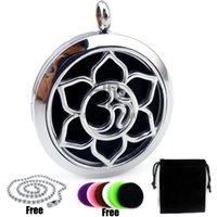 Wholesale Pendant Castings - Lotus with OM (30mm) Diffuser Palte Casting Perfume Stainless Steel Essential Oils Diffuser Locket Aroma Diffuser Locket Pendant