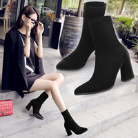 Wholesale Thick Naked Women - Black Suede Ankle Boots Fashion Pointed Toe Thick Heel Women Boots High Heel Sexy Back Zipper Naked Boots 34-39