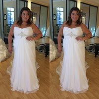 Wholesale Dress Summer Fat - White Plus Size Wedding Dresses 2017 Elegant Strapless Bridal Gowns For Fat Women Vestidos De Novia