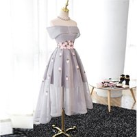 Wholesale Brown Invisible Zipper - Flower Fairy Gray Organza Pink Applique High-Low Prom Dress Bridesmaid Off-Shoulder Flowers Peplum Invisible Zipper Back Homecoming Dress