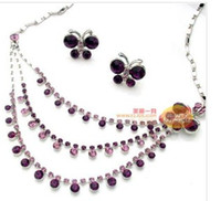 Wholesale Butterfly Layer Earrings - purple crystal beads layers set wedding bride necklace (44+extra 8cm) butterfly earings (20mm*15mm ( ming)
