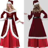 Wholesale Cheap Cosplay Fast Shipping - Fast Shipping Wholesale Christmas Decorations Off Shoulder Long Sleeve Sexy Costume Gown Fur Christmas Ornaments Cheap Cosplay Robe