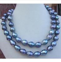 collares de perlas del mar del sur barroco al por mayor-2 FILA AAA12-14MM NATURAL SUR MAR NEGRO PERLA BARROCA 14K