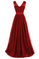 Wholesale abiti da sera red carpet for sale - Group buy Vestido De Noche Abiti Da Cerimonia Da Sera Cheap Long Burgundy Evening Dresses