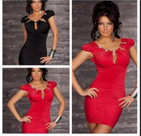 Wholesale Exotic Mermaid Dress - 2 Color S M XXL Free Shipping New Beauty Casual Club brand Dress women Sexy Mini Party Dress Exotic Costume Black Red 76