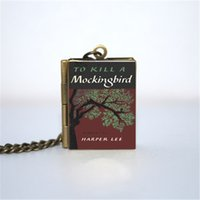 Wholesale Bronze Jewelry Links - 12pcs To Kill a Mockingbird Book Locket Necklace, Bronze tone book jewelry