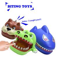 Wholesale Gag Teeth - Wholesale- Fun Toys Shark Bulldog Crocodile Dentist Bite Finger Gam Funny Family Novelty Crocodile Teeth Toy Gags Practical Joke For Kids