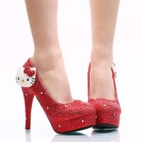 bombas de brilho vermelho venda por atacado-2017 Red Rhinestone Heels Cristal KT Sapatos De Vestido De Casamento Espumante Nighclub Sapatos de Salto Alto Nupcial Prom Bombas Plus Size
