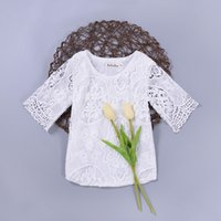 Wholesale Half Sleeve Summer Tops - Baby girl clothing crochet lace top white half flare sleeve Ins baby clothes 2017 summer European hotsale 6months-36months