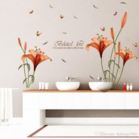 Wholesale Red Flowers Sticker - Wall Sticker Vivid Red Lily Flower Decal Pastoral Style Eco Friendly Water Proof Home Decor Stylish Backdrop 3 5pc F R