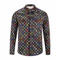 Wholesale Fabric Collar Pattern - Medusa New Fashion Brand Men Long Sleeve Business Shirts Letter combination canvas pattern Comfortable Fabric Casual Shirts