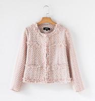 Wholesale Long Woolen Coats - Cute Pink Wool Jacket Coat For Women O-Neck Long Sleeve Woolen Tweed Coats Ladies Formal Work Coat Winter Outerwear ZRF0908