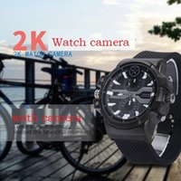 Wholesale Mini Box Watches - Super HD 2K WristWatch pinhole Camera 1080P H.264 16GB motion detection Watch Camera waterproof Watch mini Dv DVR with retail box