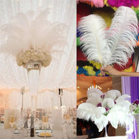 Wholesale wedding centerpiece ostrich feathers - 50pcs lot 6-26 inch Ostrich Feather White Plume Wedding Party table Centerpiece Desktop Decoration Plush Christmas Decor