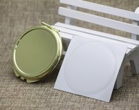 Wholesale Sticker Domed - Blank Compact Mirror DIY Wholesale Mirrors With Match Resin Domed Sticker Gold Color M0832G FREE DHL FEDEX SHIPPING