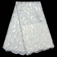 Wholesale Organza Lace Fabric Handcut - (5yards pc) high quality handcut African organza lace fabric luxury pure white African sequins lace fabric for weding OP48